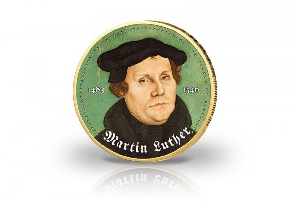 2 Euro Martin Luther mit Farbe und 24 Karat Goldapplikation