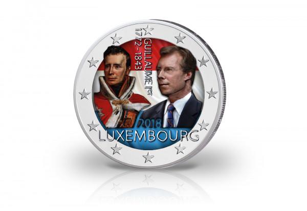 2 Euro 2018 Luxemburg 175. Todestag von Guillame I. mit Farbapplikation