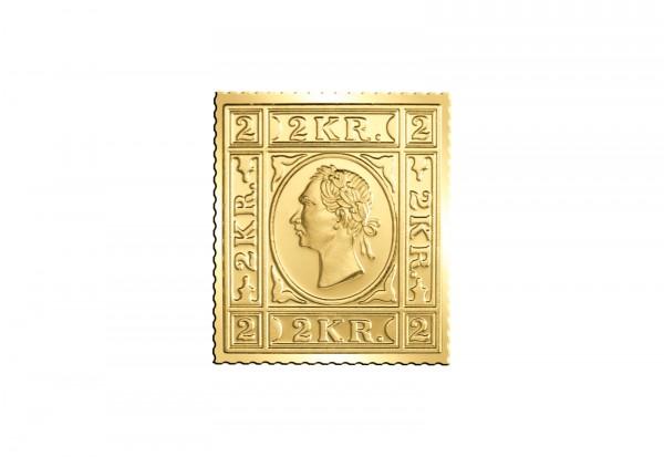 Berühmteste Briefmarken der Welt Goldfolienprägung - Österreich 2 Kreuzer mit 24 Karat Goldauflage