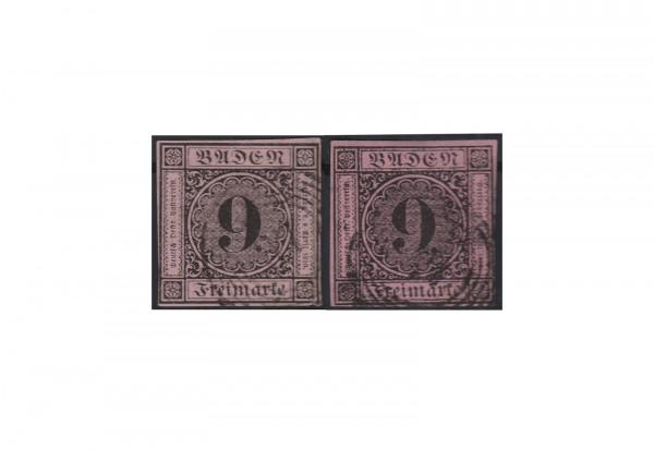 Baden 9 Kreuzer Freimarke 1851 Michel Nr.4 a+b gestempelt